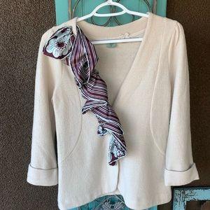 Anthropologie cream wool silk hwr ruffle sweater